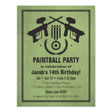 RustyDoodle Modern Grungy Paintball Birthday Party Invitations