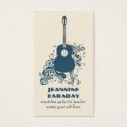 modern guitar music business card at Zazzle