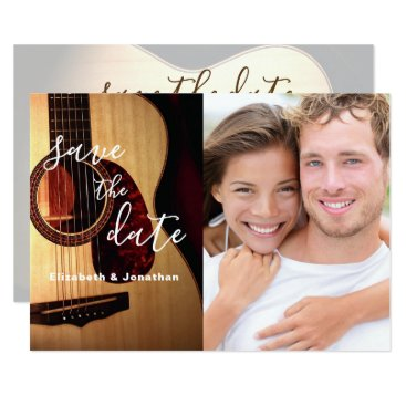 Wedding Themed Modern Guitar Musical Save The Date Photo Card
