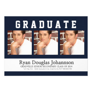 Modern Guy Graduate with Three Photos Personalized Invites