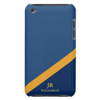 Modern Guy Navy Blue Custom Name iPod Touch Barely There iPod Cover