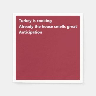 Modern Haiku Poem Minimal Burgundy Thanksgiving Napkin
