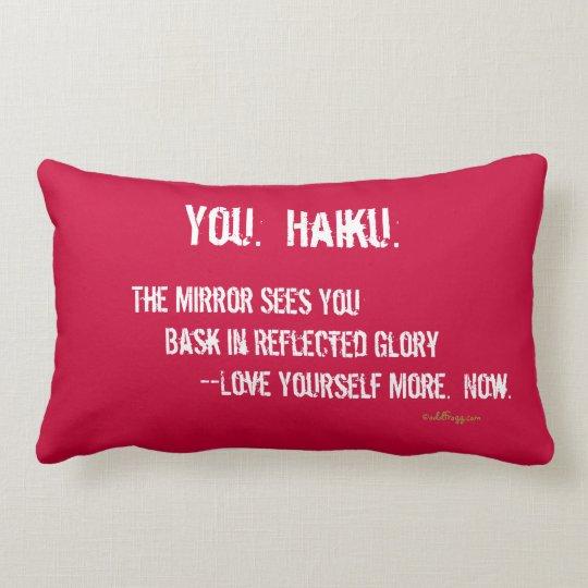 Modern Haiku Throw Pillow (Red)