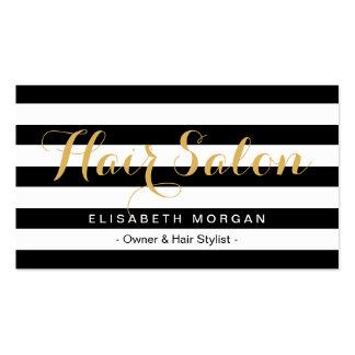 Modern Hair Salon Gold Script Black White Striped Business Card