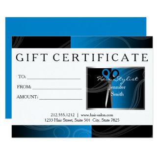 Modern hair salon refer a friend black and blue card