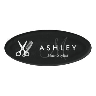 Modern Hair Stylist Black White Scissors Monogram Name Tag