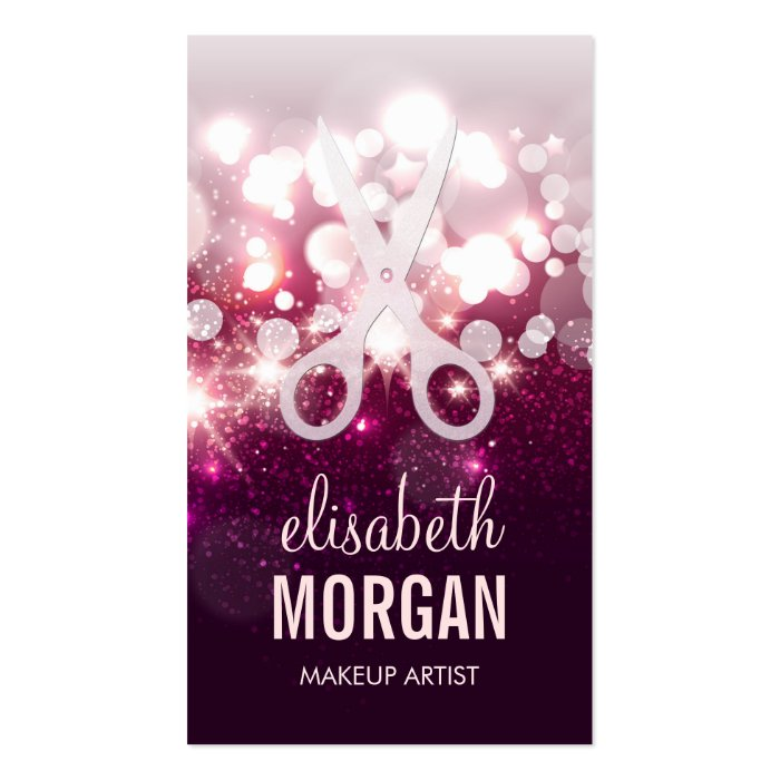 Modern hair stylist pink glitter sparkle business card for Hair stylist business card designs