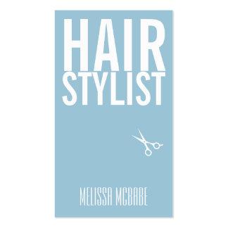 modern hair stylist powder blue simple shears business card template