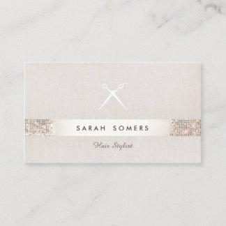 Modern Hair Stylist Scissors FAUX Sequin Salon Business Card