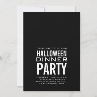 MODERN HALLOWEEN DINNER PARTY INVITATION BLACK
