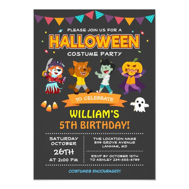 Modern Halloween Kids Costume Party Invitation (back side)