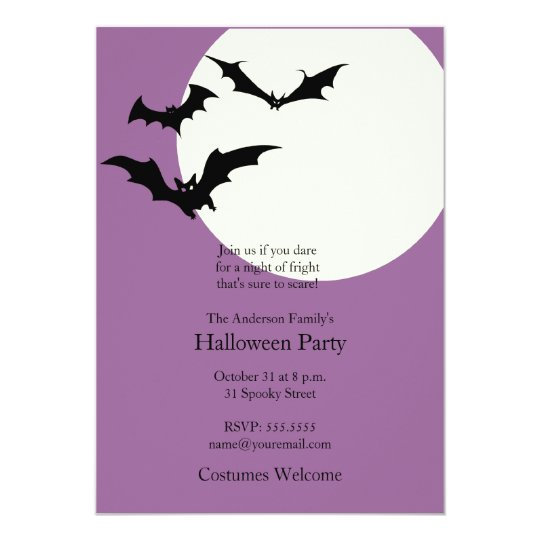 Modern Halloween Party Invitation - Bats