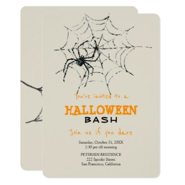 Halloween Themed Modern Halloween simple creepy spider party Card