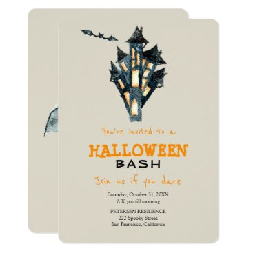 Halloween Themed Modern Halloween simple haunted castle party Card