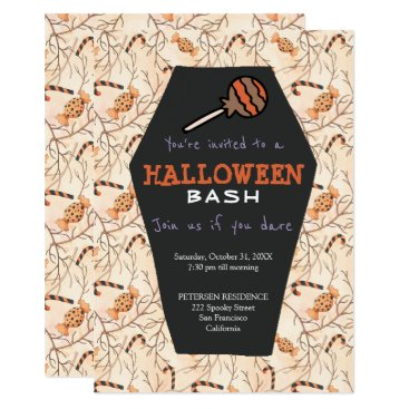 Halloween Themed Modern Halloween trick or treat cute party invite