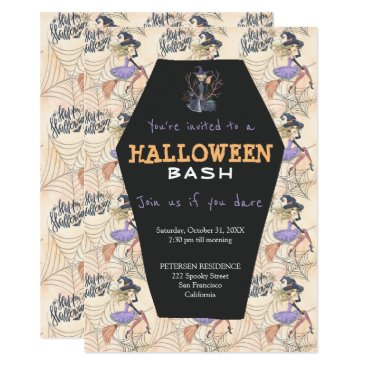 Halloween Themed Modern Halloween witches with broom party Card