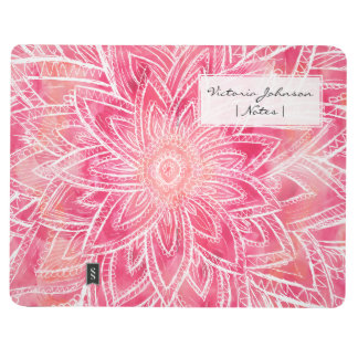 Modern hand drawn abstract pink watercolor flower journal