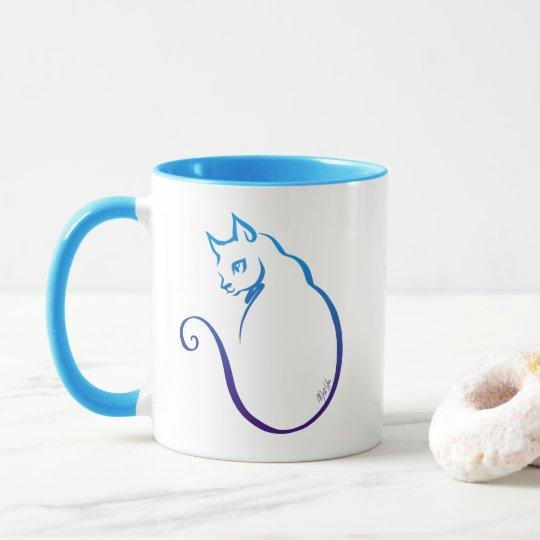 Hand Drawn Cat Wrap Around Combo Mug