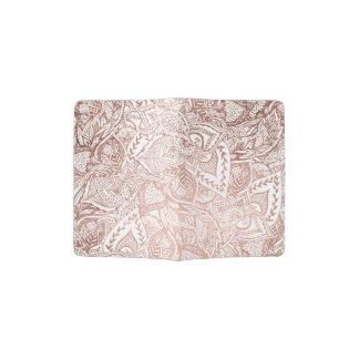 Modern hand drawn elegant rose gold floral mandala passport holder