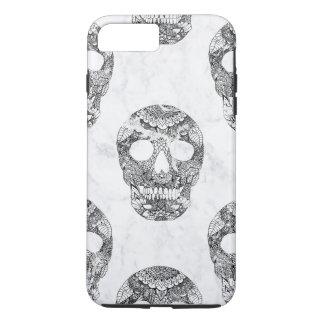 Modern hand drawn floral lace black marble skulls iPhone 8 plus/7 plus case