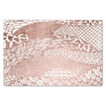 Modern hand drawn geometric rose gold pattern tissue paper