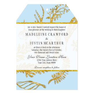 Modern Hand Drawn Leaf Leaves Faux Gold Glitter 5x7 Paper Invitation Card