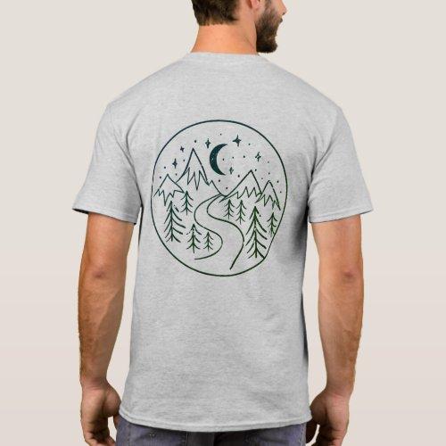 Modern Hand Drawn Mountain Landscape Company Logo T_Shirt