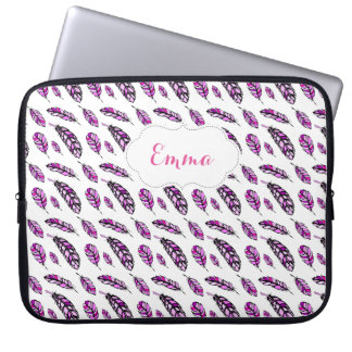 Modern Hand Drawn Pink Feathers Computer Sleeve