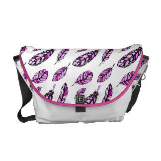 Modern Hand Drawn Pink Feathers Messenger Bag