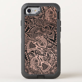 Modern hand drawn rose gold floral boho mandala OtterBox defender iPhone 7 case