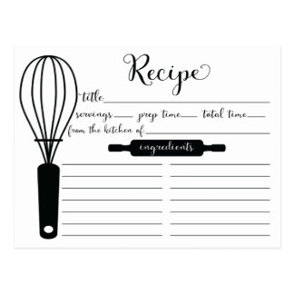 Modern Hand Lettered Black Whisk Recipe Card