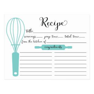 Modern Hand Lettered Blue Whisk Recipe Card