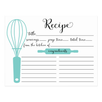Modern Hand Lettered Blue Whisk Recipe Card