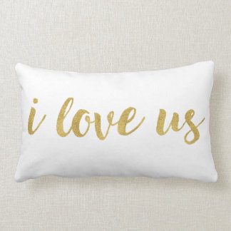 Modern Hand Lettered Gold I Love Us Decorative Lumbar Pillow