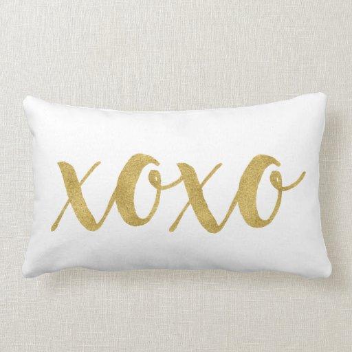 Modern Decorative Lumbar Pillows : Modern Hand Lettered Gold XOXO Decorative Lumbar Pillow Zazzle
