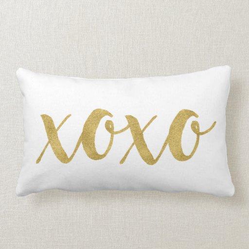 Modern Hand Lettered Gold XOXO Decorative Lumbar Pillow Zazzle