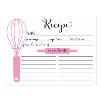 Modern Hand Lettered Pink Whisk BridalRecipe Card