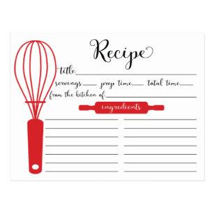 Modern Hand Lettered Red Whisk Recipe Card