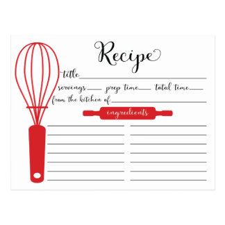 Modern Hand Lettered Red Whisk Recipe Card