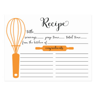 Modern Hand Lettered Tangerine Whisk Recipe Card