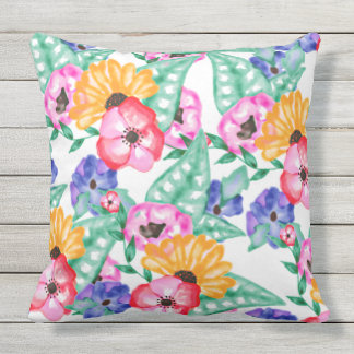 Modern hand painted floral watercolor bouquet throw pillow