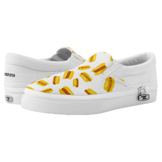 Modern hand painted hot dog food pattern Slip-On sneakers