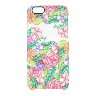 Modern hand painted pastel floral watercolor clear iPhone 6/6S case