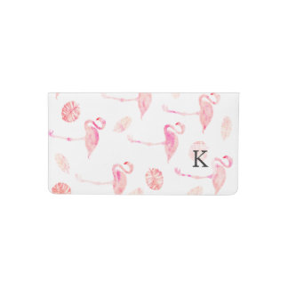 Modern hand painted pink watercolor flamingo tropi checkbook cover