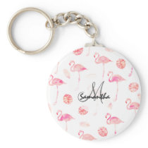 Modern hand painted pink watercolor flamingo tropi keychain