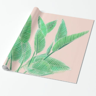 Modern hand painted tropical green watercolor leaf wrapping paper