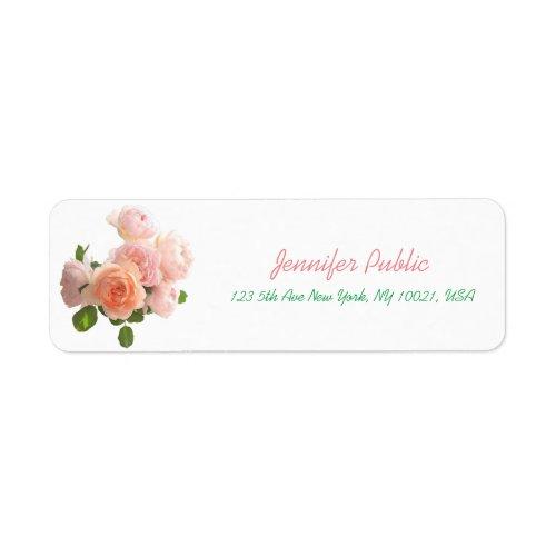 Modern Hand Script Floral Watercolor Roses Flowers Label