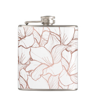 Modern handdrawn faux rose gold flowers pattern flask