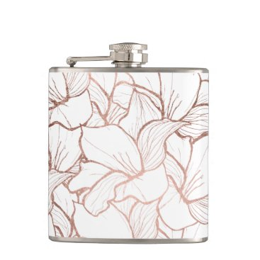 girly_trend Modern handdrawn faux rose gold flowers pattern flask