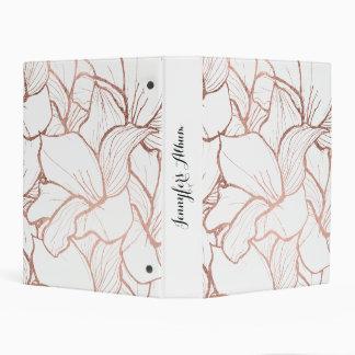 Modern handdrawn faux rose gold flowers pattern mini binder